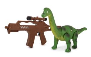 Динозавр ящер Диплодок на дистанционном пульте радиуправления с ружьём с ИК- портом